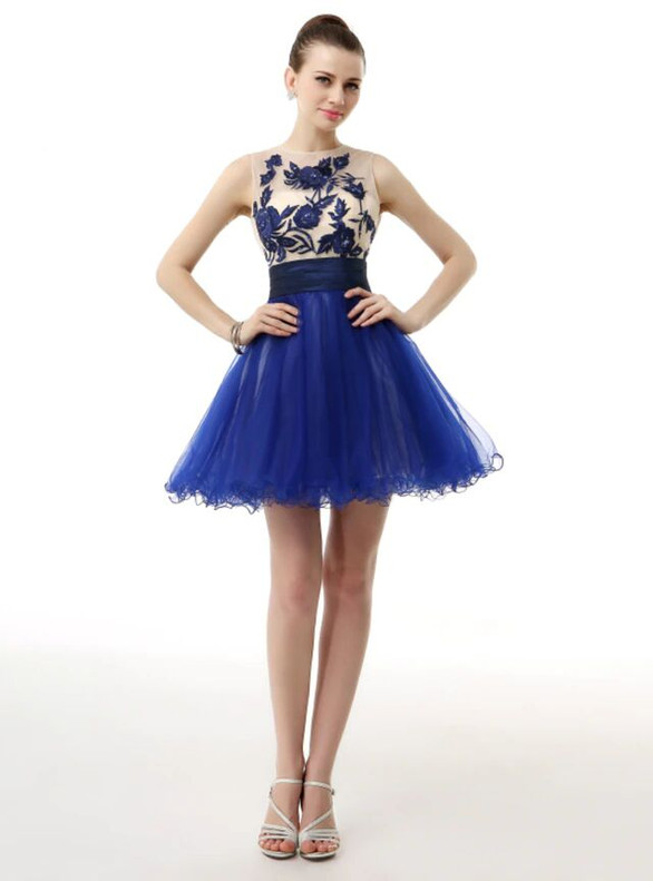 A-Line Tulle Embroidery Blue Homecoming Dress