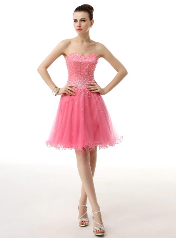 Tulle Strapless Beading Short Homecoming Dress