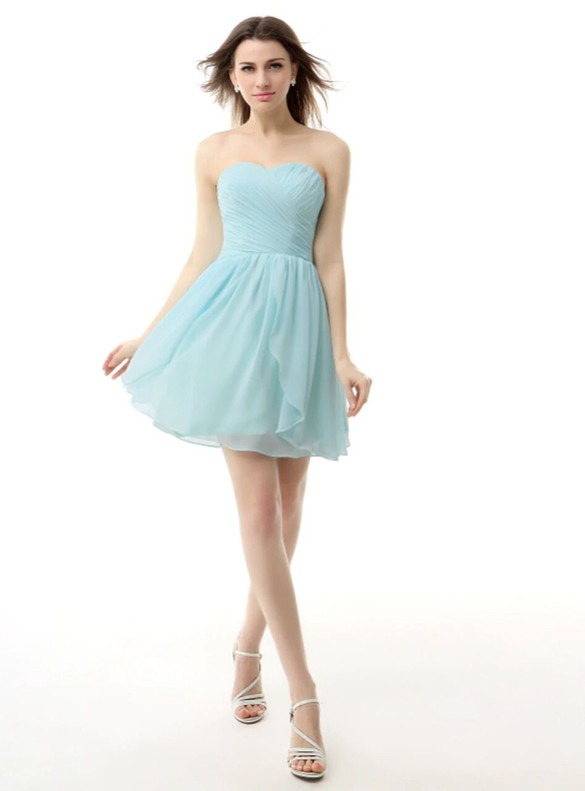 Simple Blue Chiffon Pleats Homecoming Dress
