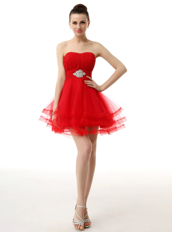 Red Strapless Pleats Beading Mini Homecoming Dress