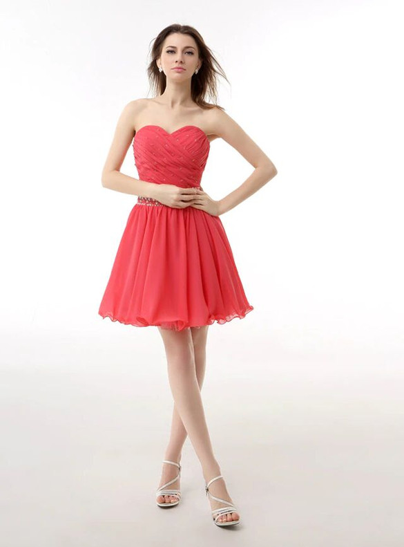 Red Chiffon Sweetheart Pleats Beading Homecoming Dress
