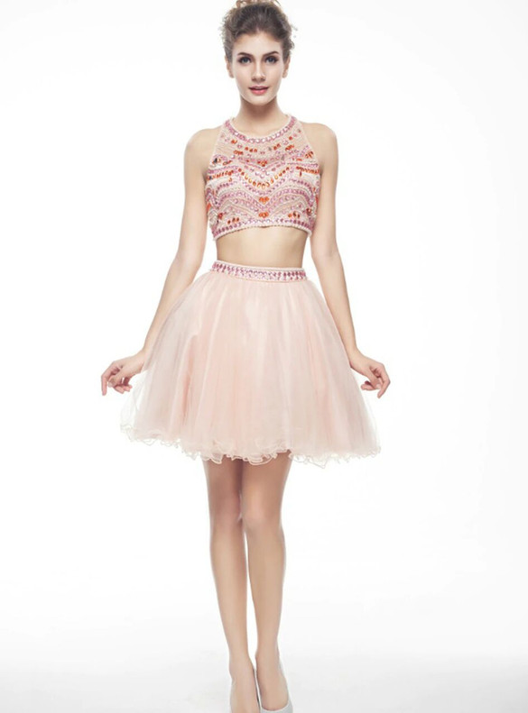 Pink Two Piece Tulle Beading Homecoming Dress