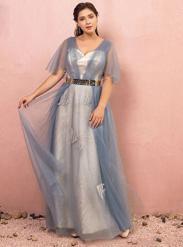 Plus Size Blue Tulle Sequins V-neck Short Sleeve Prom Dress