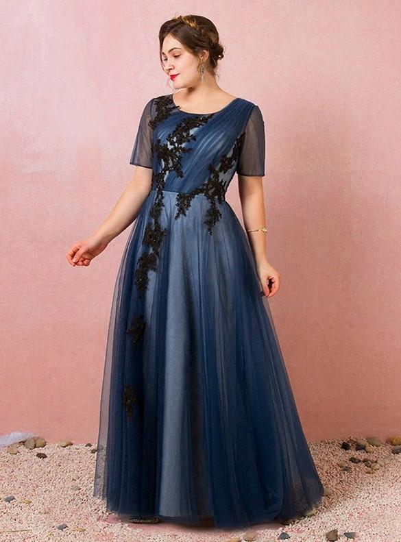 Plus Size Blue Tulle Appliques Pleats Prom Dress