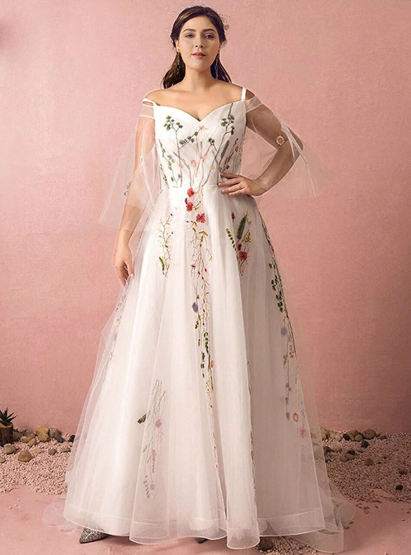 Plus Size White Tulle Embroidery Prom Dress