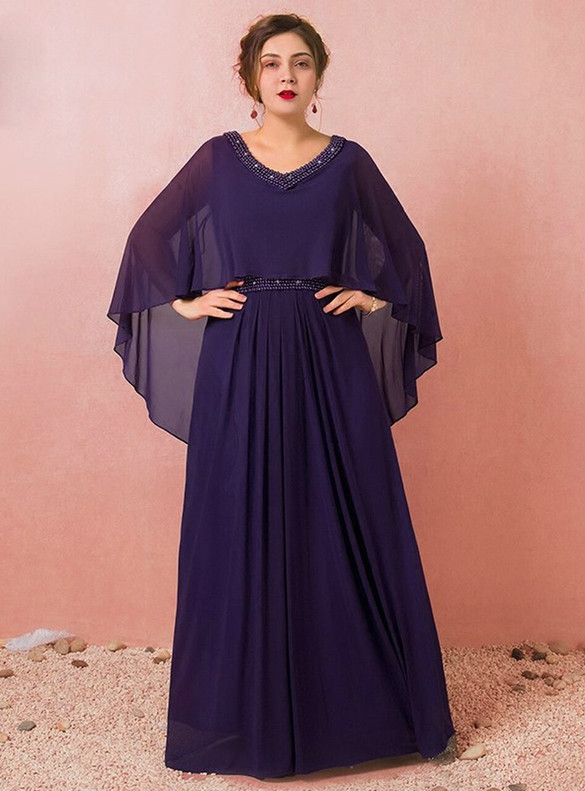 Plus Size Purple Chiffon Beading V-neck Prom Dress