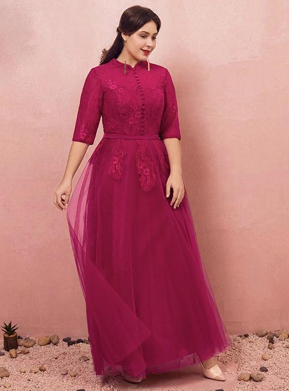 Plus Size Burgundy Tulle Lace Short Sleeve Prom Dress