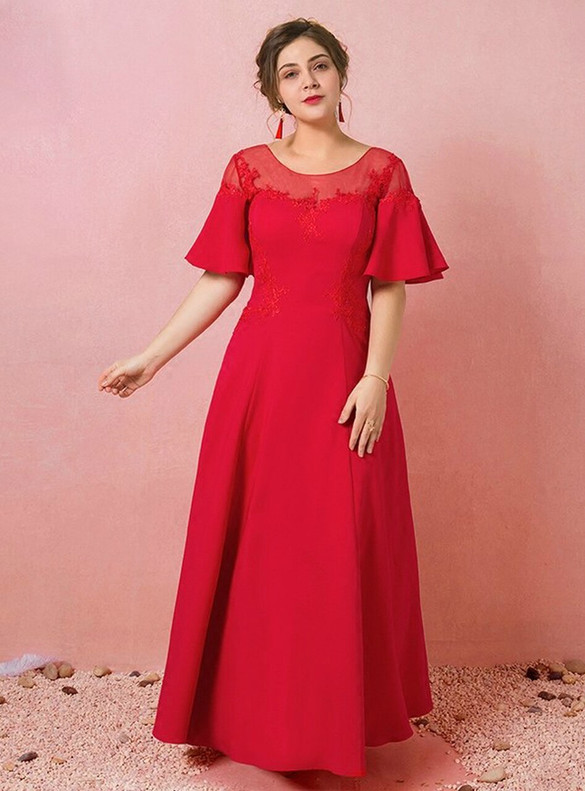 Plus Size Red Satin Lace Short Sleeve Prom Dress