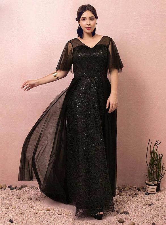 Plus Size Black Tulle Sequins V-neck Long Prom Dress