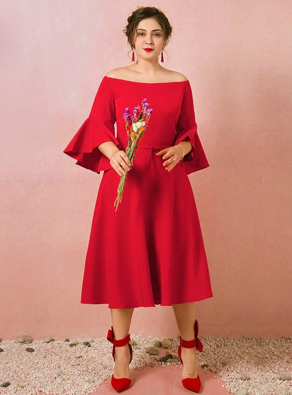Plus Size Red Long Sleeve Off the Shoulder Prom Dress
