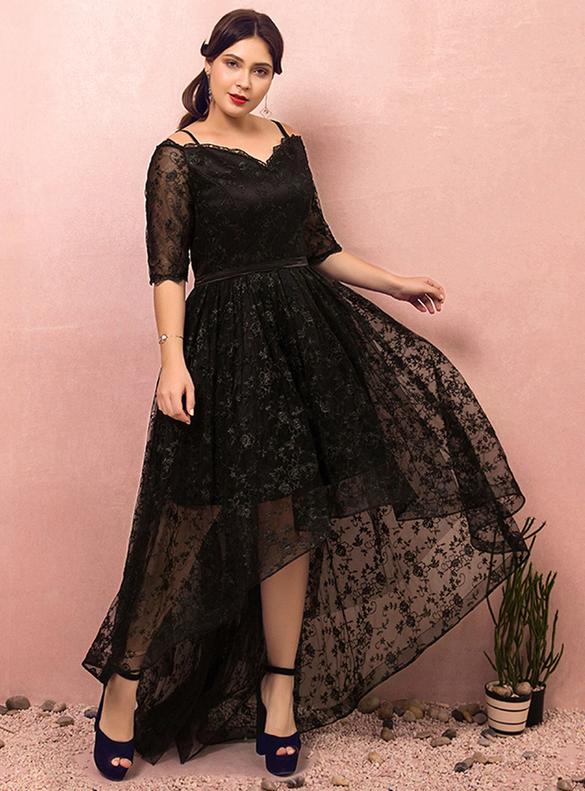 Plus Size Black Hi Lo Lace Short Sleeve Prom Dress
