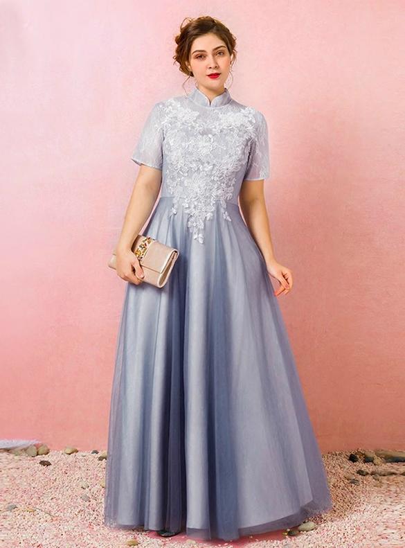 Plus Size Blue Short Sleeve Appliques Backless Prom Dress