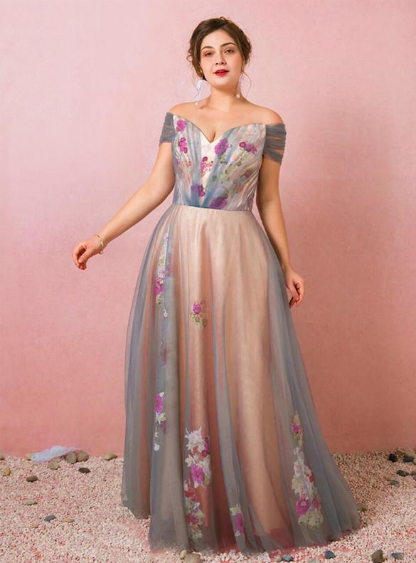 Plus Size Blue Tulle Print Pleats Prom Dress