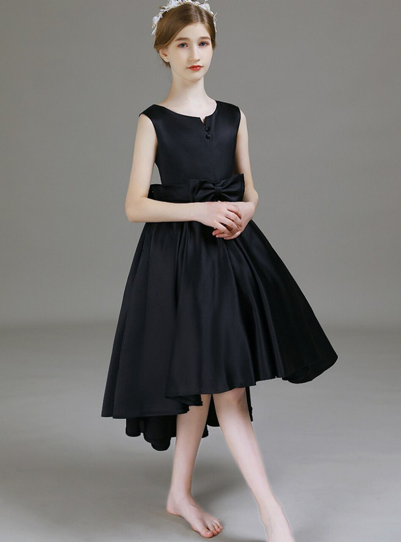 Simple Black Satin Hi Lo Bow Flower Girl Dress