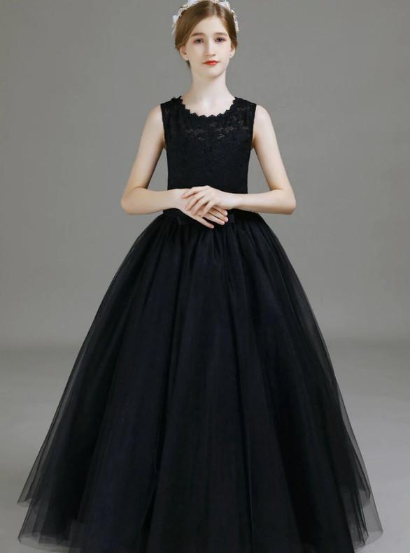 Black Scoop Neck Tulle Lace Flower Girl Dress