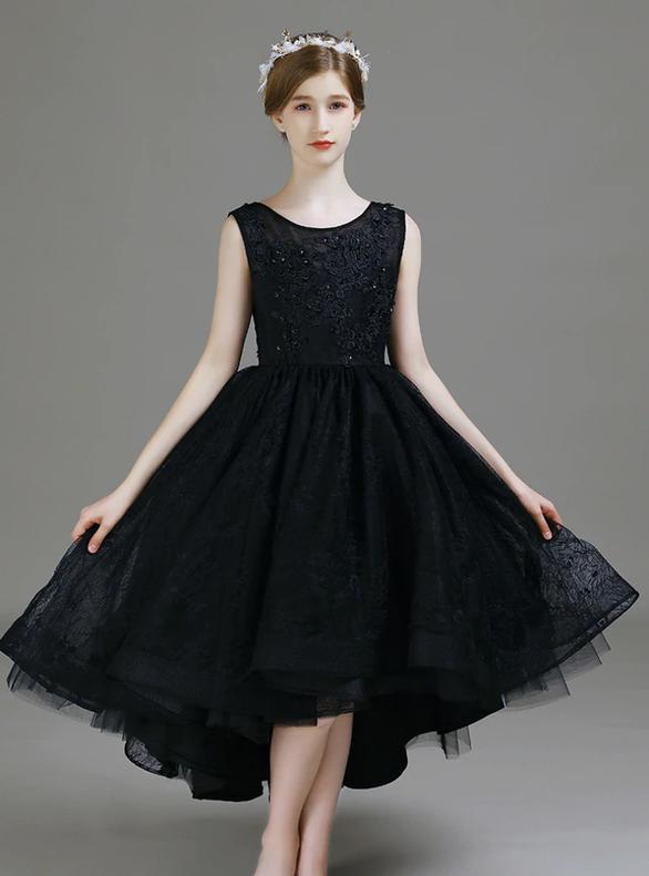 Black Hi Lo Lace Appliques Beading Flower Girl Dress