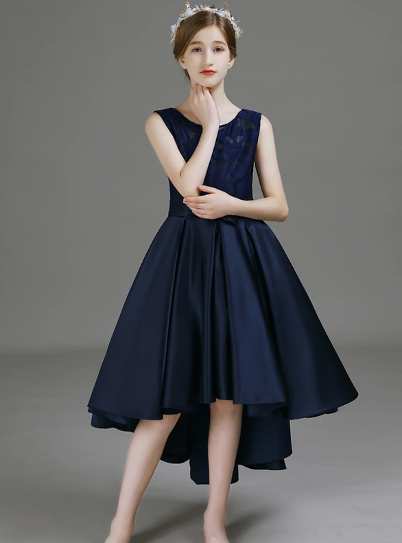 Navy Blue Satin Lace Hi Lo Bow Flower Girl Dress
