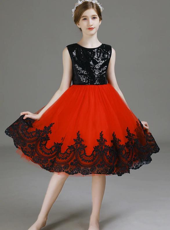 Black Sequins Red Tulle Appliques Flower Girl Dress