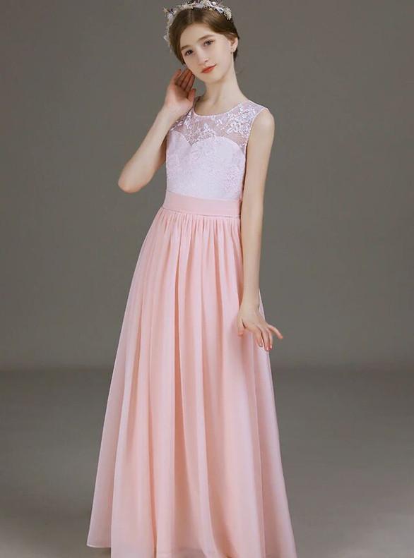 Pink Chiffon Lace Scoop Long Flower Girl Dress