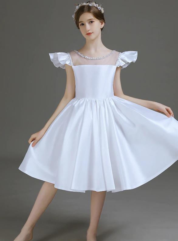 White Satin Beading Bow Flower Girl Dress