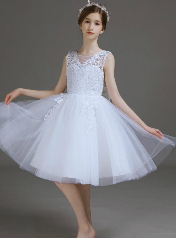Simple White Tulle Lace Short Flower Girl Dress