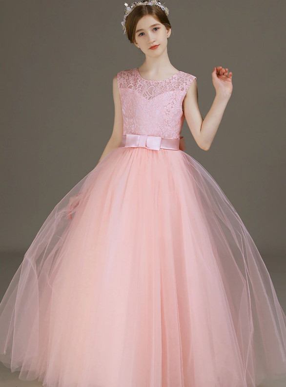 Pink Tulle Lace Bow Long Flower Girl Dress