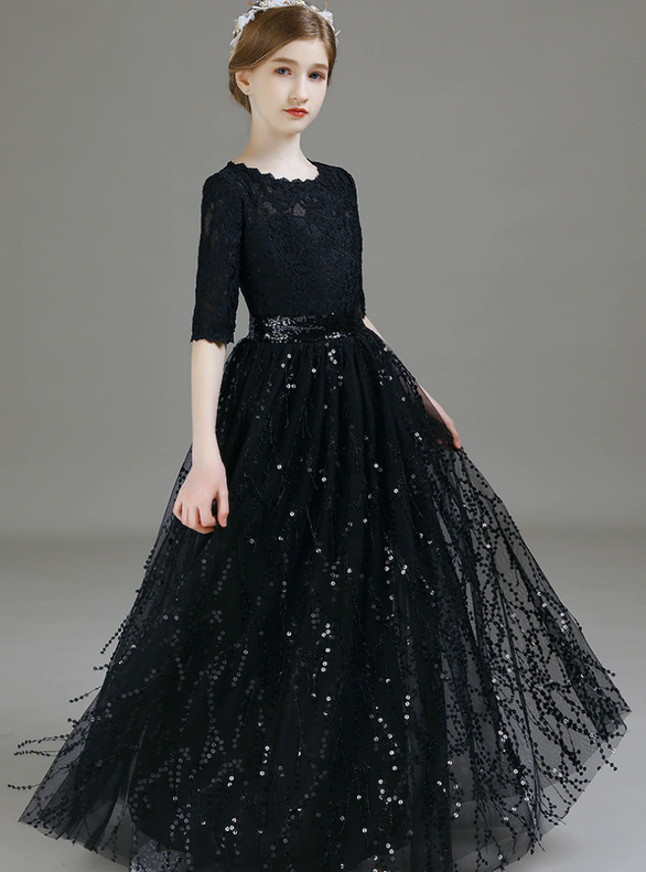Black Lace Tassels Sequins Short Sleeve Flower Girl Dress