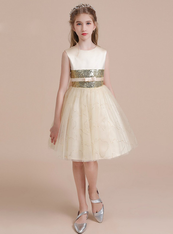Champagne Tulle Sequins Short Flower Girl Dress With Bow