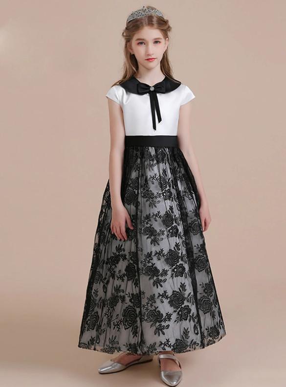 Black Tulle Lace Cap Sleeve Flower Girl Dress