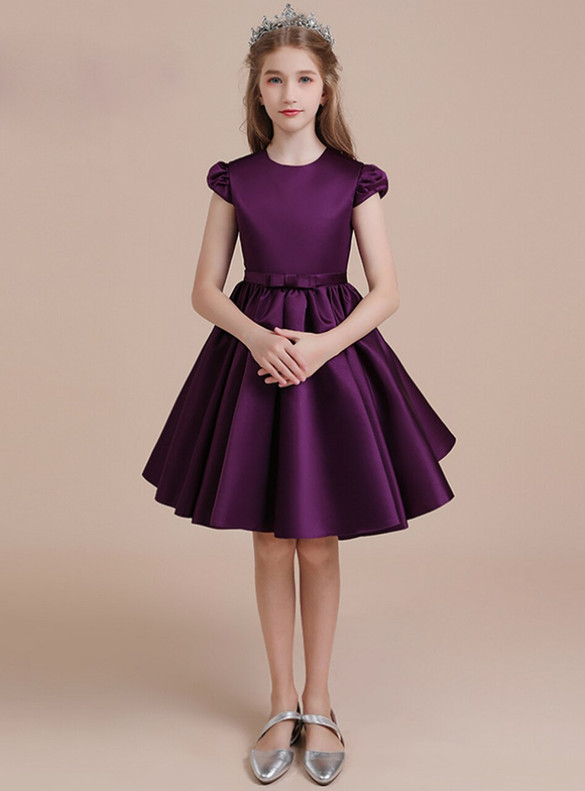Dark Purple Satin Cap Sleeve Short Flower Girl Dress