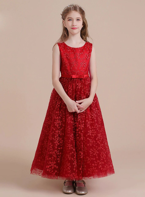 Dark Red Tulle Lace Sleeve Flower Girl Dress