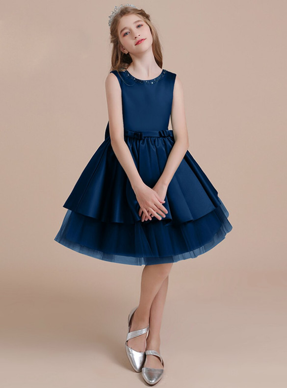 Navy Blue Tulle Satin Flower Girl Dress With Bow