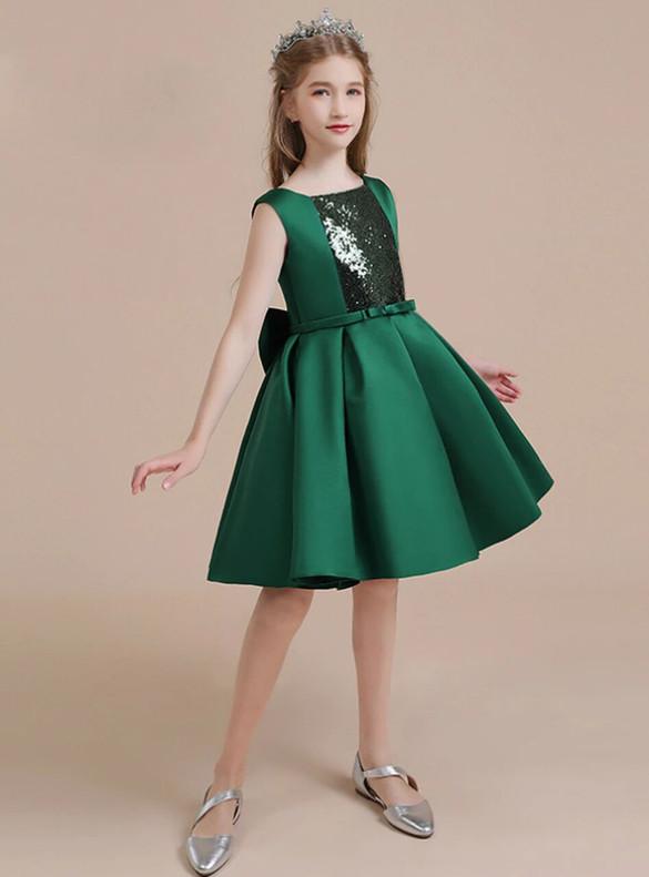 Drak Green Satin Sequins Bow Flower Girl Dress