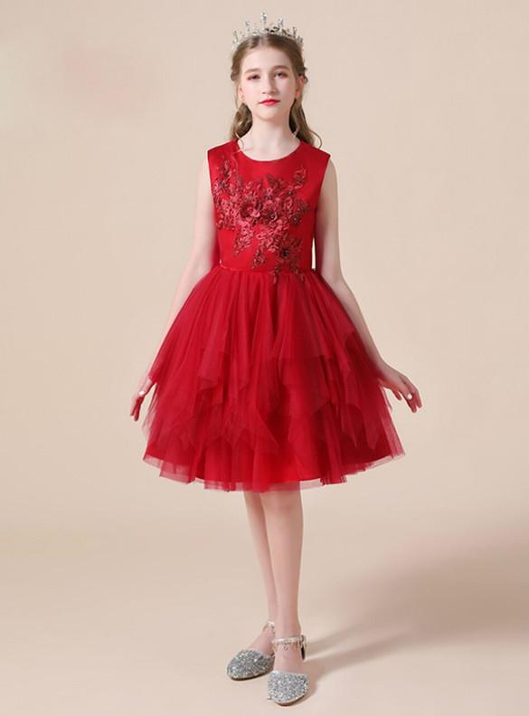 Burgundy Tulle Appliques Short Flower Girl Dress