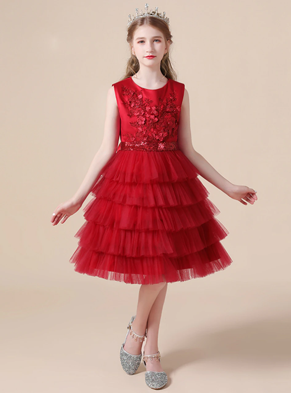 Burgundy Tulle Appliques Tiers Beading Flower Girl Dress
