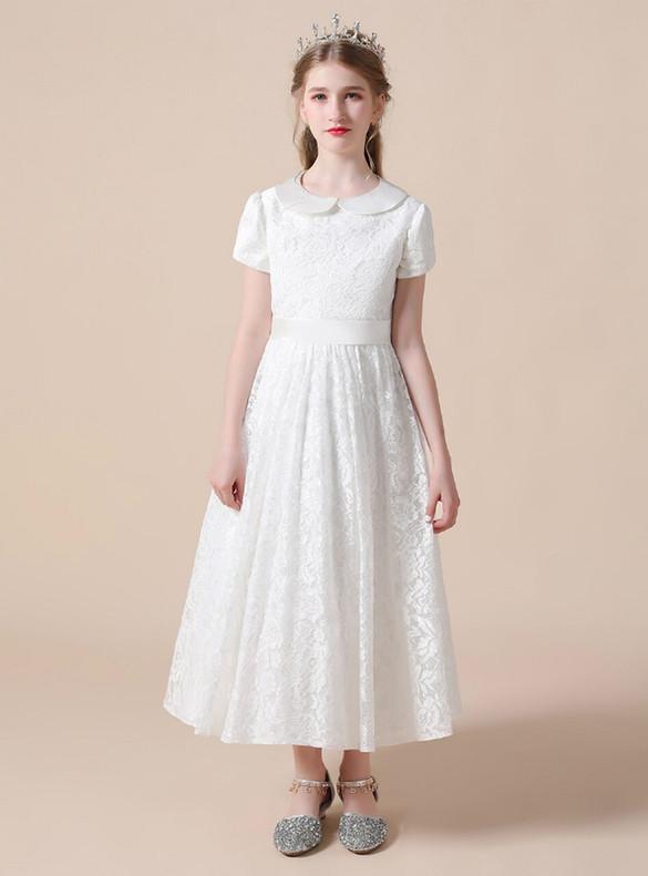 Dreamy White Lace Short Sleeve Flower Girl Dress