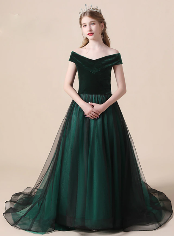 Green Tulle Velvet Flower Girl Dress Witn Bow