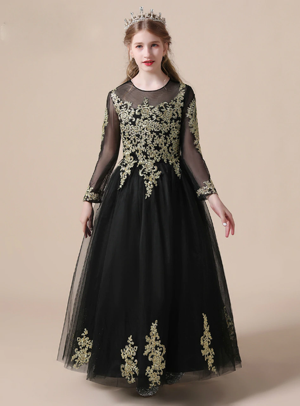Black Tulle Lace Appliques Long Sleeve Flower Girl Dress