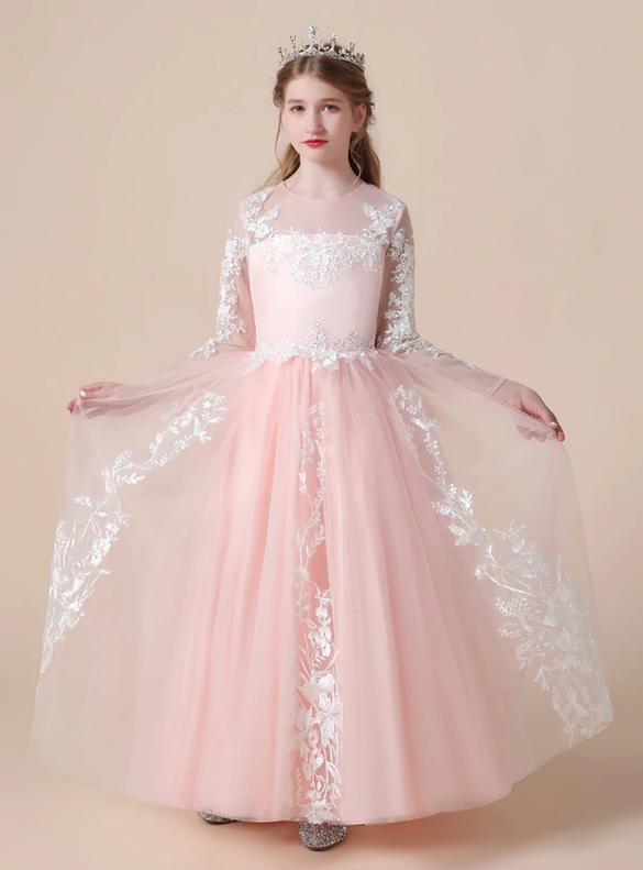 Pink Tulle Appliques Long Sleeve Flower Girl Dress