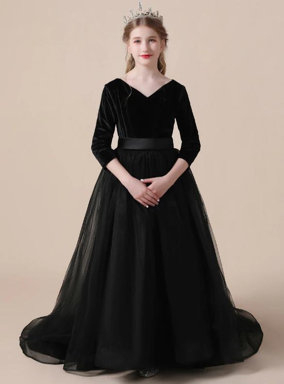 Black Velvet Tulle Long Sleeve V-neck Flower Girl Dress