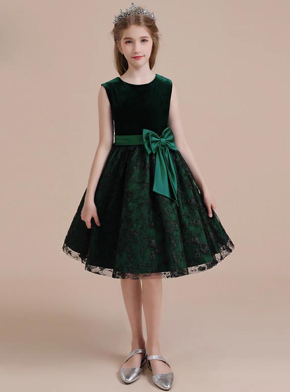 Dark Green Tulle Lace Velvet Flower Girl Dress With Bow