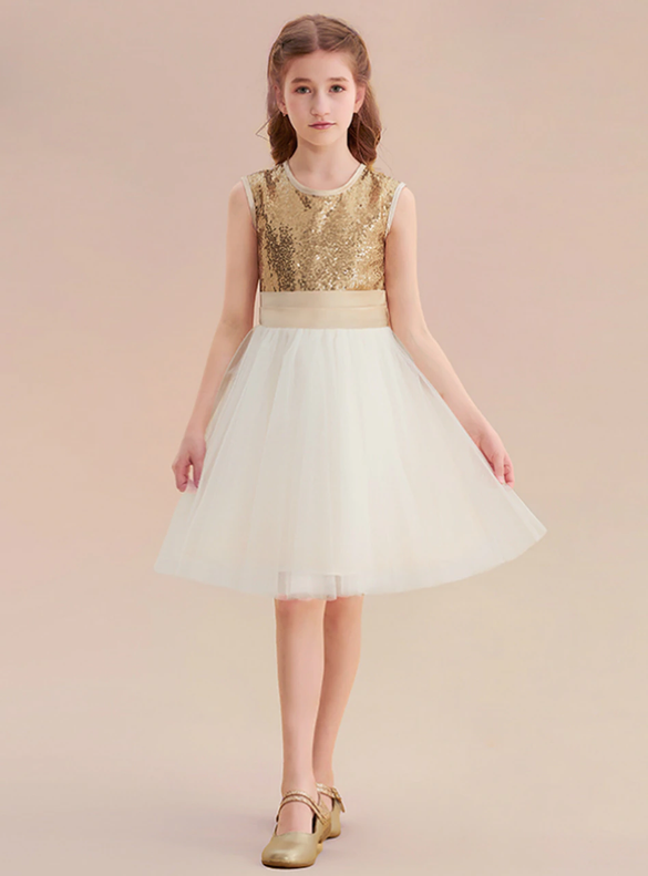 Gold Sequins Champagne Tulle Bow Flower Girl Dress