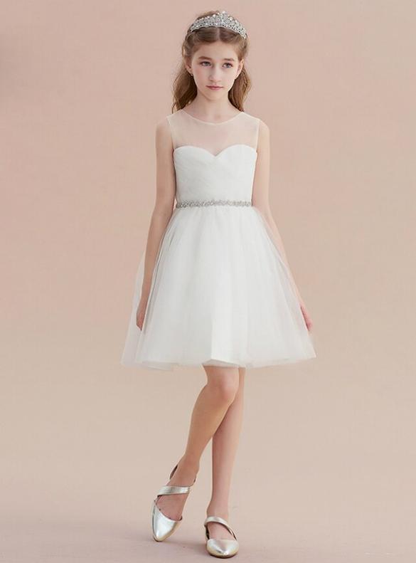 Fashionable White Tulle Pleats Beading Flower Girl Dress