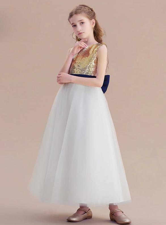 Gold Sequins White Tulle Backless Bow Flower Girl Dress