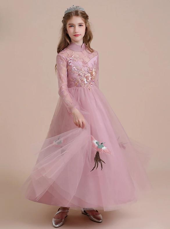 Pink Tulle High Neck Long Sleeve Appliques Flower Girl Dress