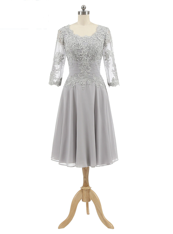 Silver Gray Chiffon Appliques Short Sleeve Mother of The Bride Dress