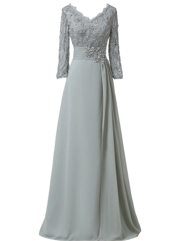 Gray Chiffon Lace Long Sleeve V-neck Beading Mother Dress