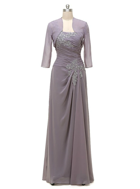 Chiffon Gray One Sholuder Appliques Beading Mother Of The Bride Dresses
