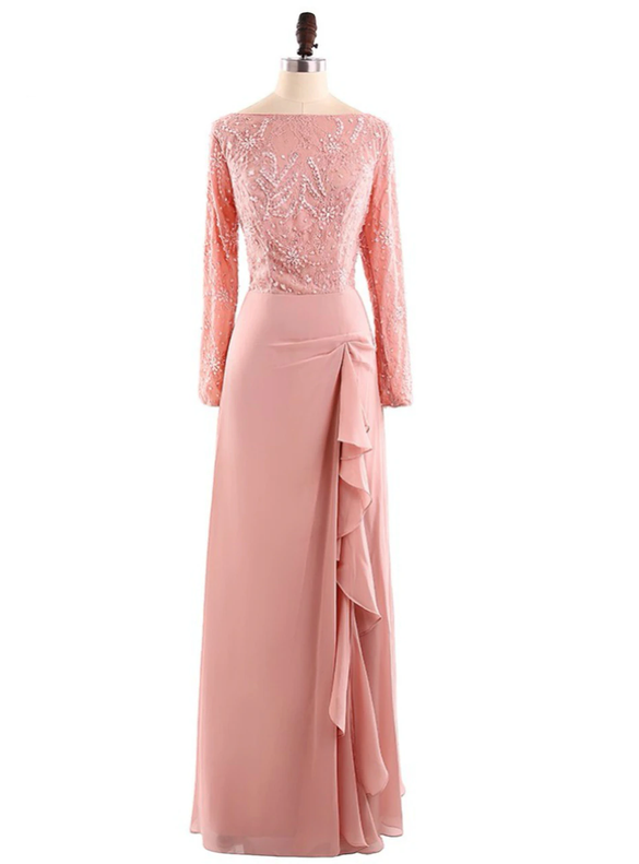 Pink Chiffon Lace Long Sleeve Beading Mother of the Bride Dresses