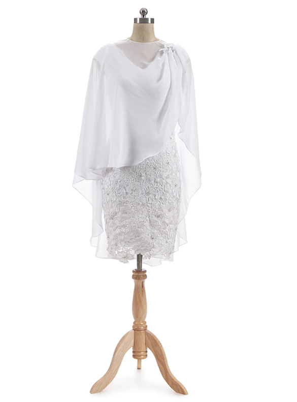 White Chiffon Lace V-neck Pleats Short Mother Of The Bride Dress